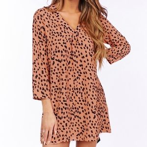 white birch leopard spotted dress size small